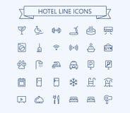 Uppsättning för hotellvektorsymboler Tunn linje raster för översikt 24x24 Perfekt PIXEL Arkivfoton