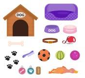 Uppsättning för hundkapplöpningmaterialsymbol med tillbehör för husdjur, lägenhetstil, på vit bakgrund Valpleksak Hundkoja krage royaltyfri illustrationer