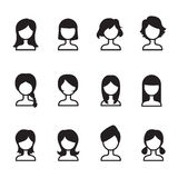 Uppsättning för iIllustration för symbol för vektor för symboler för kvinnahårstil Royaltyfri Bild