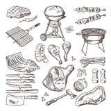 Uppsättning för illustration för Bbq-vektor hand dragen Grillat kött och annan tillbehör för grillfest festar vektor illustrationer