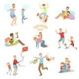 Uppsättning för illustration för faderdag av farsor som spelar med ungar stock illustrationer