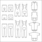 Uppsättning för illustration för sportcykelkläder Arkivfoton