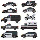 Uppsättning för illustration för patrull för lastbil för medel för politik för vektor för polisbil nöd- och suvbiloch policemansm royaltyfri illustrationer