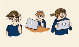 Uppsättning för illustration för pojke för ny teknik för bärbar datormobiltelefontabell royaltyfri illustrationer