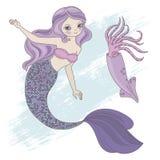 Uppsättning för illustration för TIOARMAD BLÄCKFISKSJÖJUNGFRUprinsessa Sea Animals Vector arkivbilder