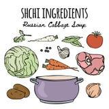Uppsättning för illustration för vektor för recept för SHCHI rysk kokkonstsoppa stock illustrationer