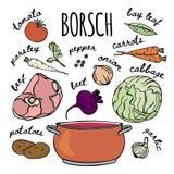 Uppsättning för illustration för vektor för soppa för kokkonst för BORSCHTRECEPT rysk stock illustrationer