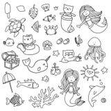 Uppsättning för illustrationer för sjöjungfrufärgläggningbok vektor illustrationer