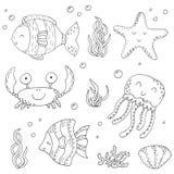 Uppsättning för illustrationvektorklotter av beståndsdelar av marin- liv Undervattens- världssamling Symboler och symbolhandteckn Royaltyfri Fotografi