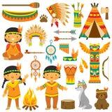 Uppsättning för indiangemkonst royaltyfri illustrationer