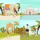Uppsättning för Indien 2x2 designbegrepp royaltyfri illustrationer
