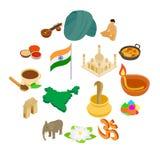 Uppsättning för Indien isometrisk symboler 3d stock illustrationer