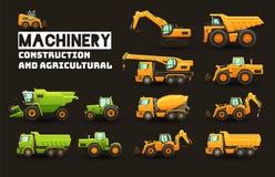Uppsättning för industriellt och jordbruks- maskineri vektor illustrationer