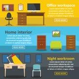 Uppsättning för inre baner för kontor horisontal, lägenhetstil royaltyfri illustrationer