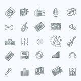 Uppsättning för inspelningmassmediasymbol stock illustrationer
