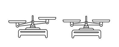 Uppsättning för jämviktsskalasymbol Bunkar av våg i jämvikt, en obalans av våg Vektorsymbolillustration planlägg linjen precision royaltyfri illustrationer