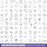 uppsättning för 100 jubla symboler, översiktsstil royaltyfri illustrationer