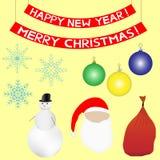 Uppsättning för jul och för nytt år Royaltyfri Bild