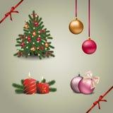Uppsättning för jul och för nytt år royaltyfri illustrationer