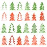 Uppsättning för jul och för nytt år av träd Vektor Illustrationer