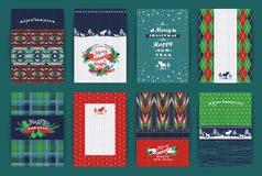 Uppsättning för jul och för nytt år Pläd och stack bakgrunder Royaltyfri Fotografi