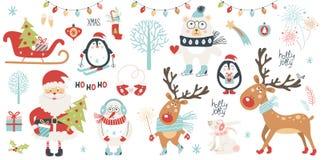 Uppsättning för jul och för nytt år stock illustrationer