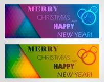 Uppsättning för julbanerdesign Royaltyfria Bilder