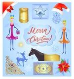 Uppsättning för julbeståndsdelillustration Fotografering för Bildbyråer