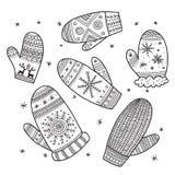 Uppsättning för julbohotumvanten stock illustrationer