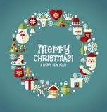 Uppsättning för juldesignsymboler lyckligt nytt år för kort Arkivbilder