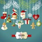 Uppsättning för juldesignsymboler lyckligt nytt år för kort Royaltyfria Bilder