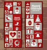 Uppsättning för juldesignsymboler lyckligt nytt år för kort Arkivfoton