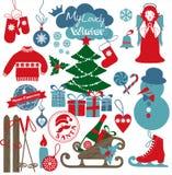 Uppsättning för juldesignsymboler lyckligt nytt år för kort Royaltyfri Bild