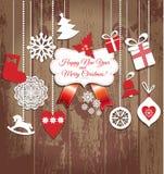 Uppsättning för juldesignsymboler lyckligt nytt år för kort Arkivbild