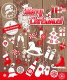 Uppsättning för juldesignsymboler lyckligt nytt år för kort Royaltyfri Fotografi