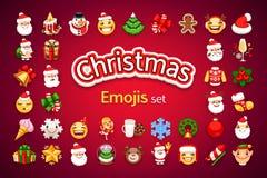 Uppsättning för julEmojis ferie royaltyfri bild