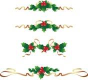 Uppsättning för julgräns/text avdelare royaltyfri illustrationer