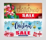 Uppsättning för julSale baner med olika designer och träbakgrund Fotografering för Bildbyråer