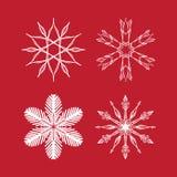 Uppsättning för julsnöflingavektor, stjärnor och frostiga symmetriska modeller stock illustrationer