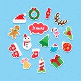 Uppsättning för julsymbolspapper Arkivbild