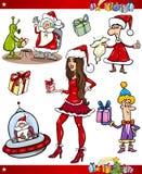 Uppsättning för jultematecknad film stock illustrationer
