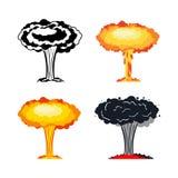 Uppsättning för kärn- explosion Kriga stor röd explosiv kemisk mushroo royaltyfri illustrationer