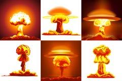 Uppsättning för kärn- explosioner stock illustrationer