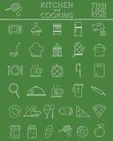 Uppsättning för kök- och matlagningöversiktssymboler Morgon vektor illustrationer