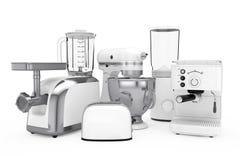 Uppsättning för kökanordningar Vit blandare, brödrost, kaffemaskin, Fotografering för Bildbyråer