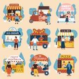 Uppsättning för köpare för gatasäljare vektor illustrationer