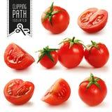 Uppsättning för körsbärsröda tomater med den snabba banan royaltyfria foton