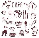 Uppsättning för kafédesignbeståndsdelar Arkivbild