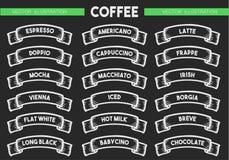 Uppsättning för kaffemenysymbol vektor illustrationer