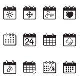 Uppsättning för kalendersymbolsillustration Arkivfoto